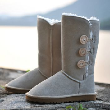 """UGG"" Women Fashion Wool Snow Boots three Button Sand"