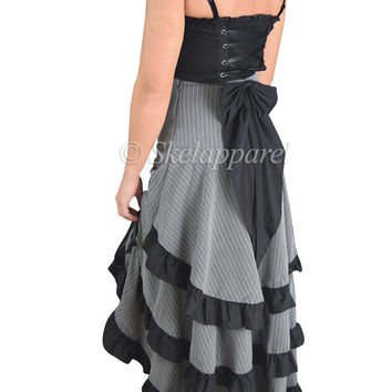 Gothic Victorian Steampunk Pinstriped Tiered Tail Long Bustle Gray Skirt