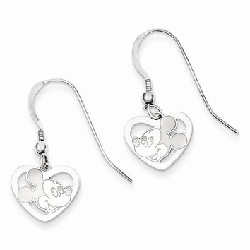 Sterling Silver or Yellow Gold Plated Disney Mickey Heart Dangle Wire Earrings