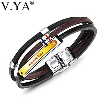 V.YA New Arrival Multilayers Genuine Leather DIY Engrave Bracelets For Men Punk Braided Wrist Wrap Braclet Casual Jewelry Gifts