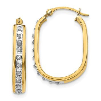 14K Yellow Gold Diamond Fascination Squared Hinged Hoop Earrings