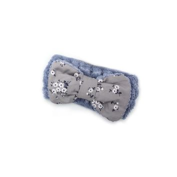 """Women's Cosmetic Headband, Light Blue with """"Flower"""" print Gingham Style Bow, by MinxNY"""