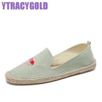 YTracyGold Embroidery Casual Shoes For Women Canvas Shoes Flexible Ladies Espadrilles Sweet Women's Flat shoes Zapatos mujer