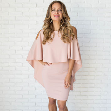 Classy Cape Dress In Blush Pink