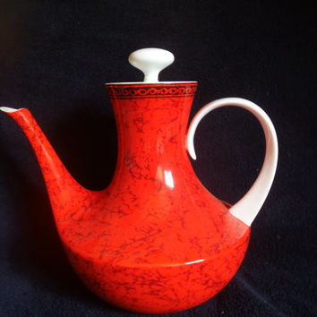 Vintage Porcelain Teapot  Orange and Black From Spain Bidasoa Mid Century Modern Teapot