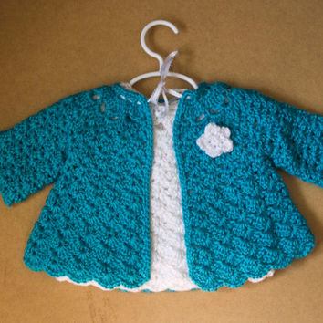 Blue and White Handmade Crocheted Baby Dress and Sweater Set