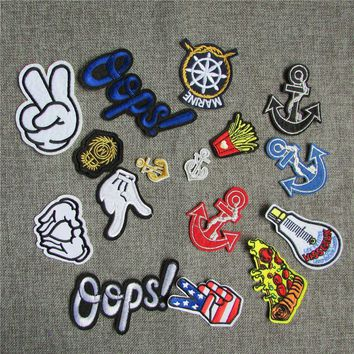 Cheap 16 kind pattern select melt adhesive applique embroidery patch DIY clothing accessory patch