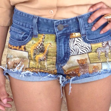 African Safari animal print shorts