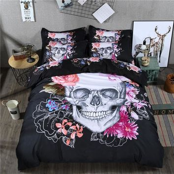 4 Pieces Corpse Bride Skull Bed Sheet Set with Purple Flowers designs Latest Sugar Skull 3d Bedding Set Twin Full Queen size bed