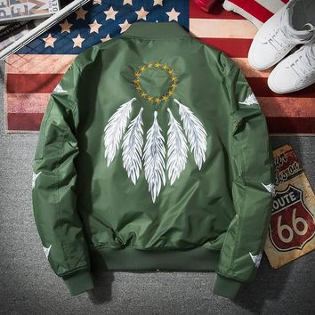 Bomber Jacket Men Pilot with Patches Army Green Thin Pilot Bomber Jacket Wind Breaker