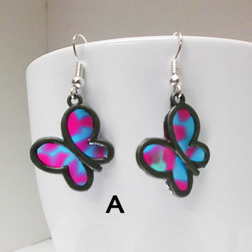 Butterfly (Faux Stained Glass) Earrings - gift for her, girlfriend, sister, teenager, geek, birthday, stocking stuffer
