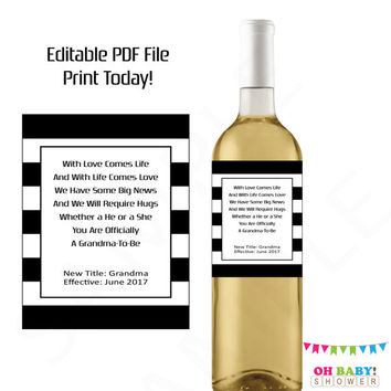 Pregnancy Reveal to Grandma Pregnancy Announcement Wine Label Editable Printable Promoted to Grandma Baby Reveal Ideas Personalized Custom