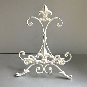 White Easel, Metal Easel, Book Stand, Art Prop, Shabby and Chic, Fleur De Lis, Parisian Chic, Cottage Chic, French Country