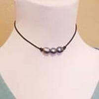 3 large black pearl necklace, black leather pearl necklace