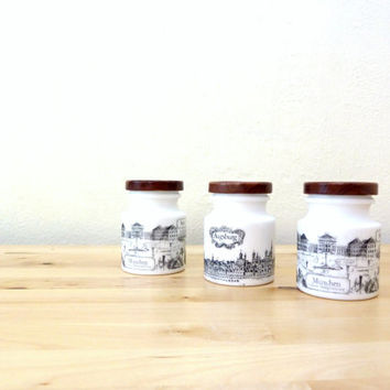 Vintage Milk Glass Jar / Small White Jars / Develey Mustard Jar / Retro Kitchen Decor / German Decor / Munich Collectible / Set of 3
