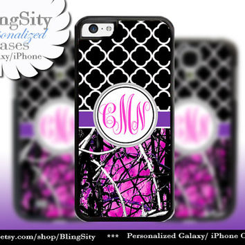 Black Monogram iPhone 5C 6 6 Plus Case iPhone 5s Ipod 4 5  Real Tree Camo Hot Pink Purple Quatrefoil Personalized Country Girl