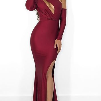 Reaching The Limit Wine Red Satin Long Sleeve One Shoulder Asymmetric Keyhole Front Slit Maxi Dress