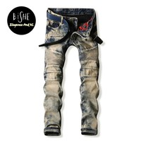 High quality Vintage Mens Biker jeans men slim Fit Pleated Motorcycle Denim Joggers Male Designer Cargo Jean Trousers Plus Size