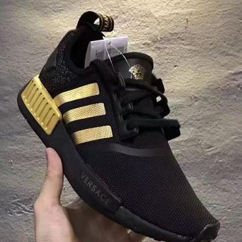 x1love £º Versace x Adidas NMD_R1 Black/Gold Sneakers Trending Running Sports Shoes
