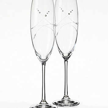 Oleg Cassini Tiara Toasting Flutes, Set of 2