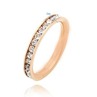 18ct Rose gold filled Full Eternity finger ring with stunning simulated diamonds - wedding band - engagement ring