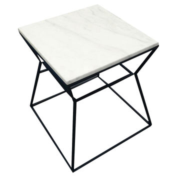 Geo Side Table, Black/White Marble, Standard Side Tables