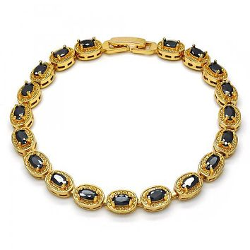 Gold Layered Tennis Bracelet, with Cubic Zirconia, Golden Tone