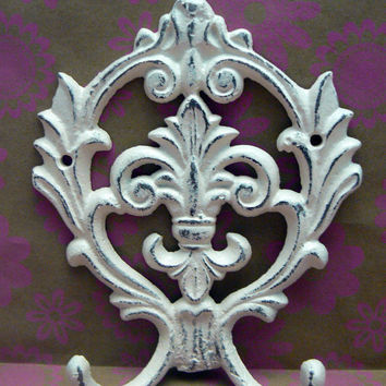 Fleur de lis Cast Iron Off White Cream Ecru Wall Double Hook Ornate French Decor, Paris, Shabby Chic Leash Jewelry Cap Bathroom Hooks