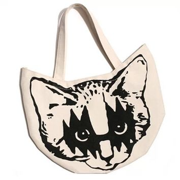Simple Oxford Bento Bag Creative Cat Lunch Tote Bag