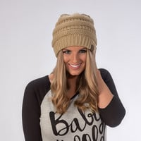 GOLD CC Cable Knit Beanie