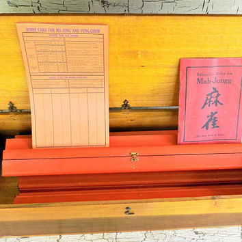 1920's Mahjong Wood Tile Racks, Set of 4, With Storage Box, Babcock's Red Rule Book