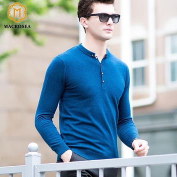 MACROSEA 100% Pure Wool Men Sweaters Men's Casual Knitting Pullover Botton-Collar Fashion Design Merino Fleece Male's Coat