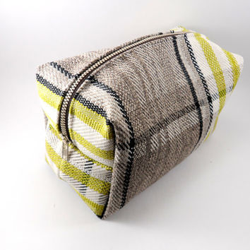 Olive Green Plaid Blanket Scarf Large Lined Makeup Bag with Metal Zipper, Gadget Case Pencil Case, Zippered, Cosmetics, For Her Under 20