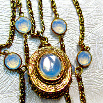 Goldette Necklace Triple Chain Faux Moonstone Fob Pendant