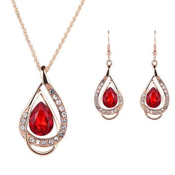 Red Gem Water Drop and Rhinestone Jewelry Set