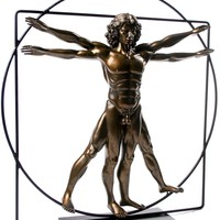 Vitruvian Universal Man Ideal Man Proportions Statue by DaVinci Bronze, Assorted Sizes