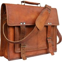 Leather Bags Now 14 Inches Unisex Cross Shoulder 100% Genuine Leather Messenger Laptop Briefcase Bag Satchel Brown