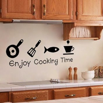 Enjoy Cooking Time DIY Kitchen Restaurant Wall Stickers Decal Home Decor Decoration Wall Art Poster Relax Your Time