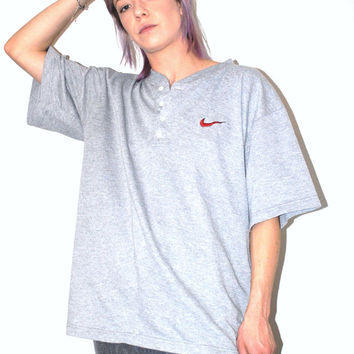 90s Nike henley tshirt 90s grunge vintage grey ribbed cotton button up athletic tee medium