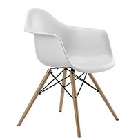 DHP Mid Century Modern Molded Arm Chair with Wood Leg, White