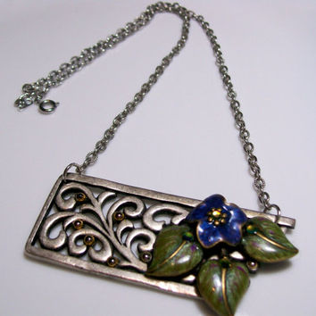 Floral Garden Metal Lattice Pendant with Blue Flowers Choker Necklace Upcycled Silver OOAK Artisan Necklace Blue Flower 16 Inch Necklace
