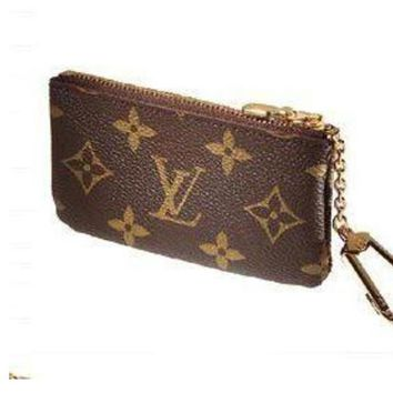 LV Tide brand classic old flower female zipper coin purse key case Coffee print