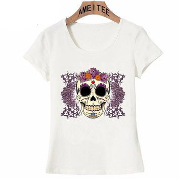 Vintage Skull Roses Print Punk Fashion Women T-Shirt Tattoos Design Casual Tops Summer Tee