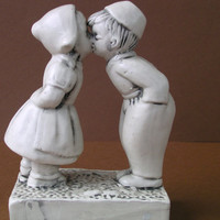 Figure Kissing Boy & Girl Vintage Porcelain Figurine - China