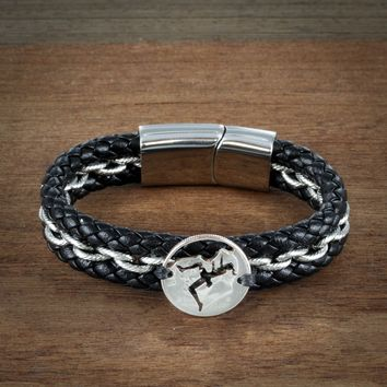 Rock Climbing Leather Bracelet, Girl Rock Climber Jewelry by Namecoins