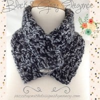 NeckWarmer Hand Crochet Button Black Gray Ladies Caron Simply Soft