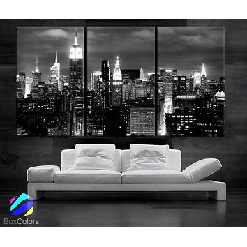 "LARGE 30""x 60"" 3 Panels Art Canvas Print beautiful New York City skyline Black & White Wall Home (Included framed 1.5"" depth)"