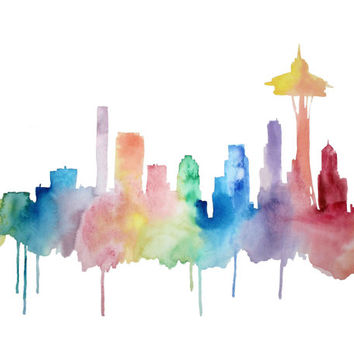 Seattle Skyline Watercolor, Seattle Art, Space Needle Print, Washington Print, Colorful, Rainbow, Jet-City, Emerald City, Rain City