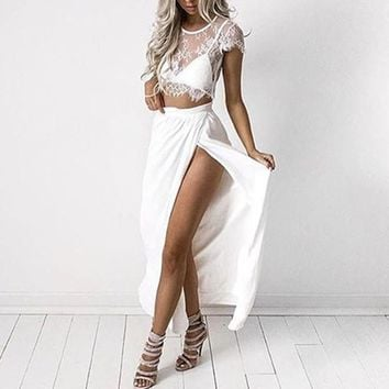 Women's Lace Short Sleeve Cami Crop Vest Skirt Underwear Bra Three Piece Set
