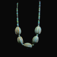 1980's Chunky Bead Necklace, With Blue Beads Speckled with Brown, and Green